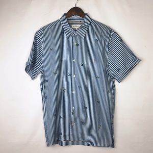 BLANKNYC Men's Striped Shirt with Surfboards NWT L